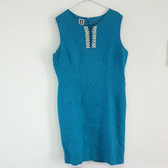 Anne Klein Sleeveless Blue Dress, Size: 14