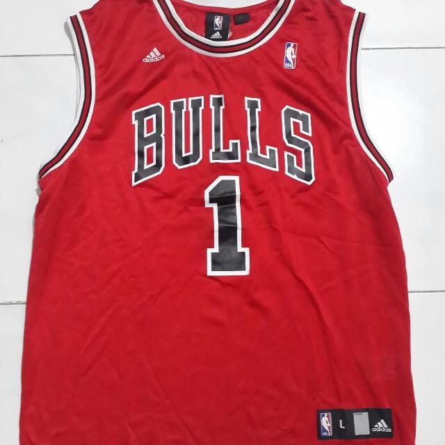 3c9d37a3f Baju Jersey Basket NBA Chicago Bulls  1 Derrick Rose Original 100 ...