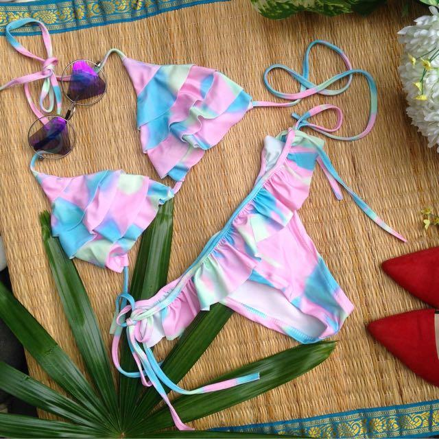 bikini frill rainbow