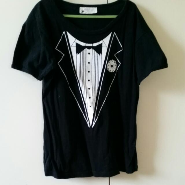 Black Tuxedo Print T-shirt Women's - Size Small