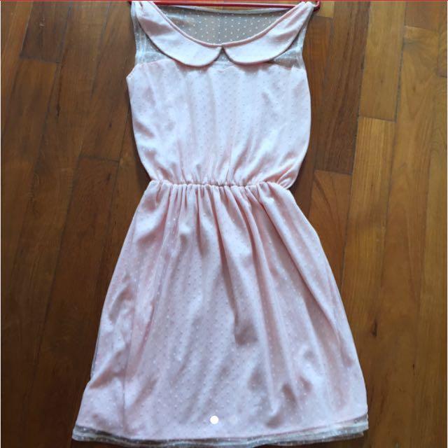 9064d691248 BN Polka Dot Peter Pan Collar Dress (peach   baby pink)