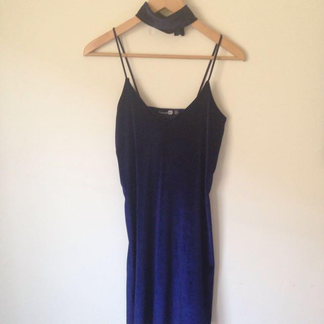 Boohoo velvet dress with matching choker