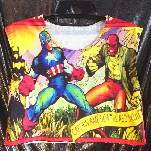 Marvel Captain America Vs. Red Skull Crop Top