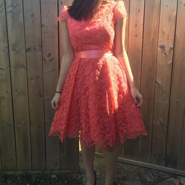 Coral classy dress