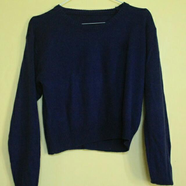 Cropped Navy Sweater
