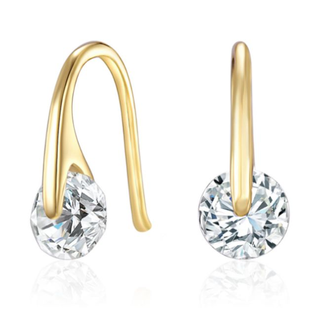 Earrings Ft Swarovski Elements -GOLD Crystals Hook Women Jewelry Earring