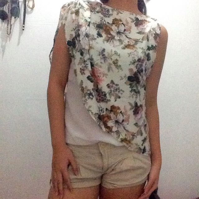 Asymmetrical Floral Top