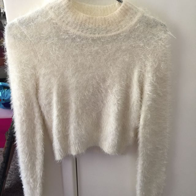 Fluffy White Long Sleeve Jumper