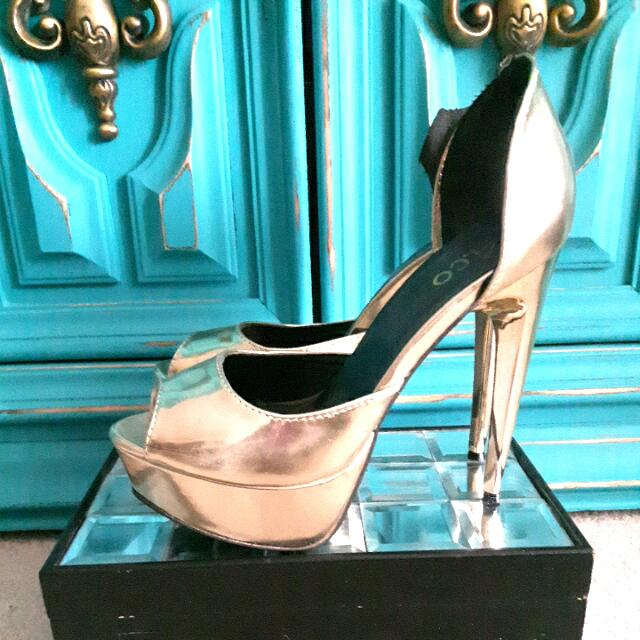 Gold Six Inch A.co High Heels