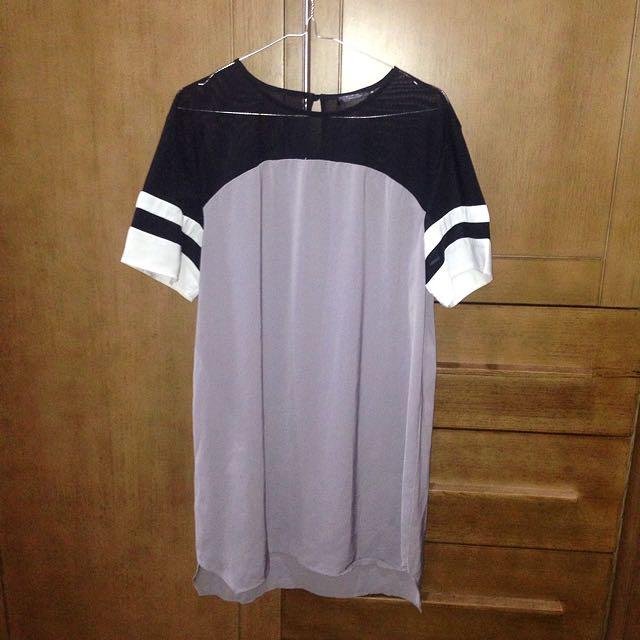 REPRICE!! Mesh Insert T-Shirt Dress