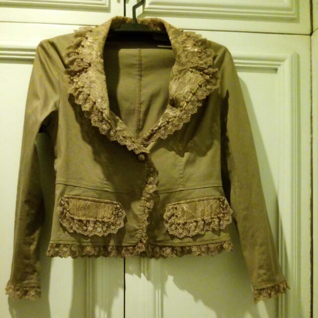 Mocha Jacket with Lace