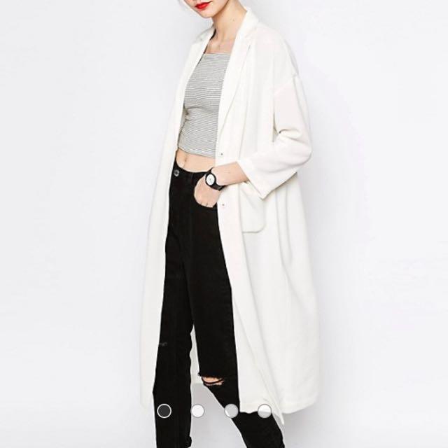 Monki White Duster Coat