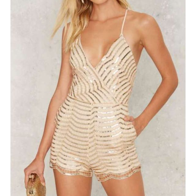 NASTY GAL Sequin You Shall Find Romper