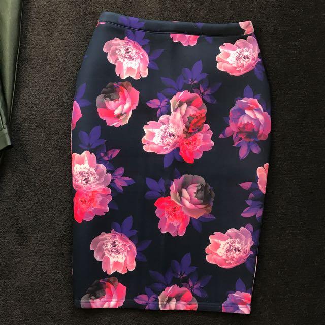 Paint It Red Midi Skirt