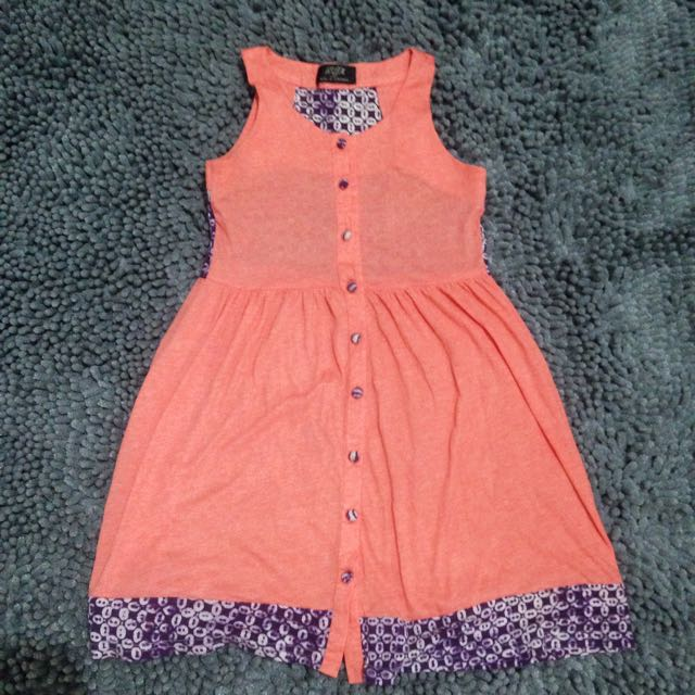 Peach Dress With Batik