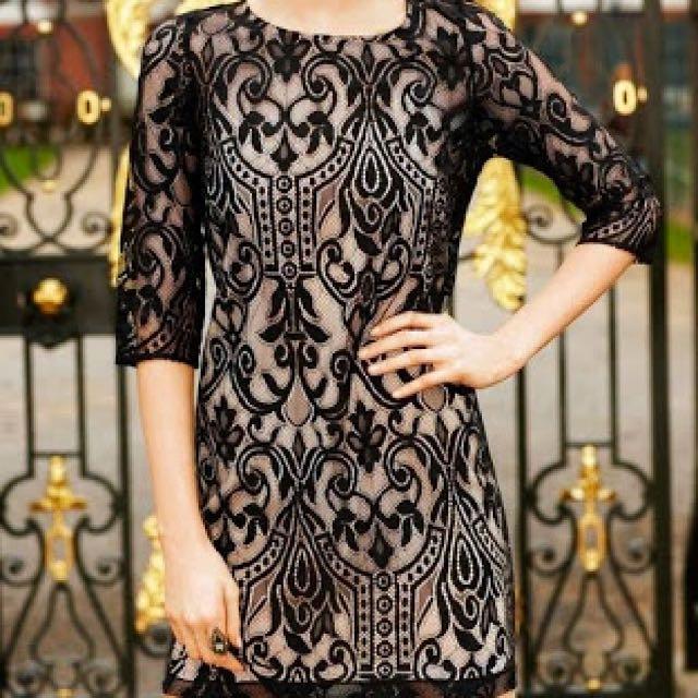 Portmans Black Lace Dress (sz 6)