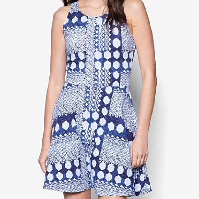 Printed Blue Backless Dress