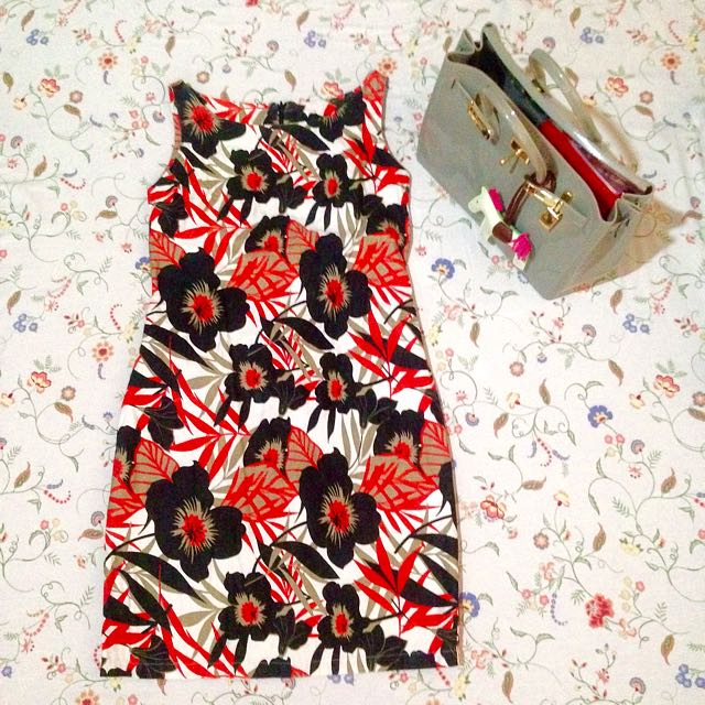 Red & Black Floral Dress