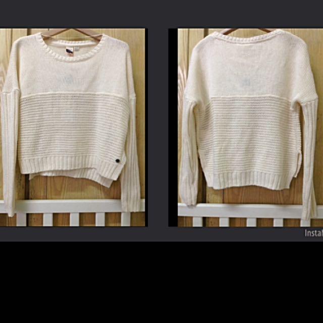 ROXY針織長袖短版上衣/白色XS