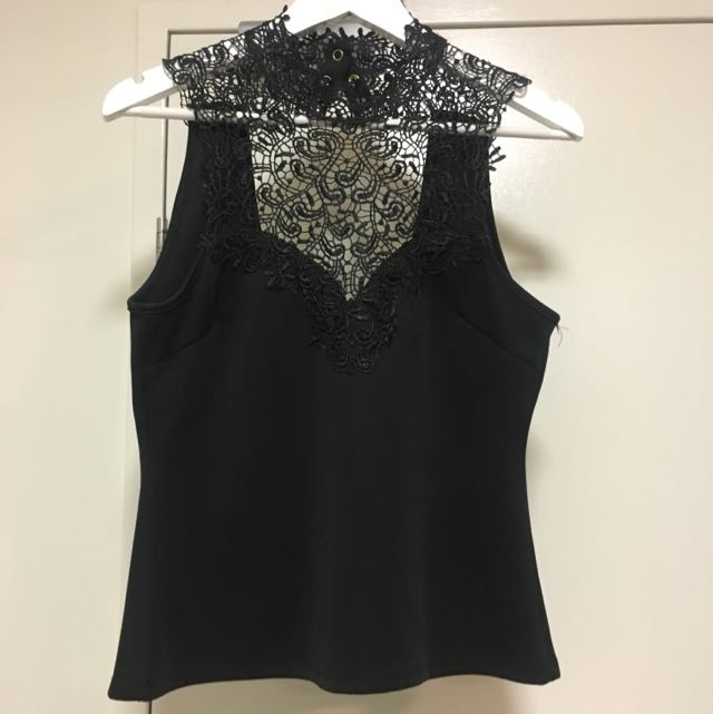 Size L Dotti Black Lace / Crochet Top