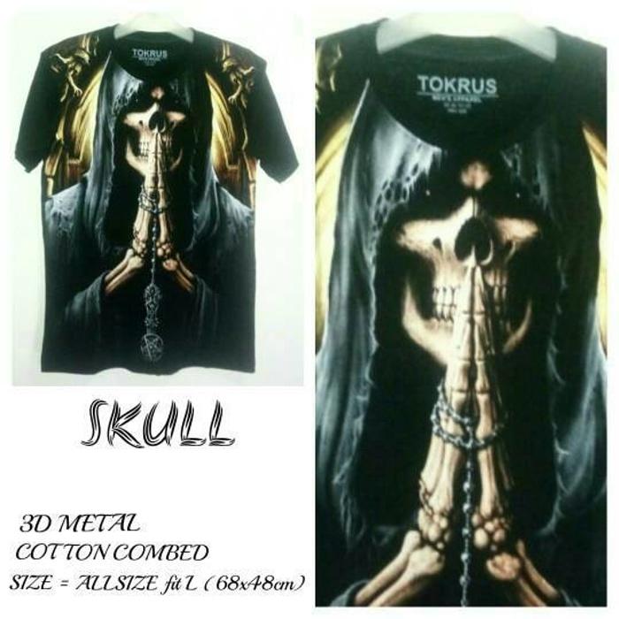 T Shirt Kaos 3D Metal | SKULL