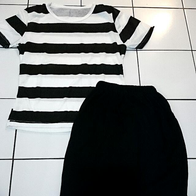 Top Bw Stripe With Skirt