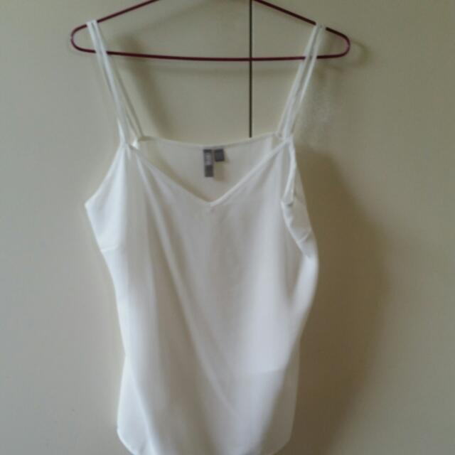 White ASOS Chiffon Double Strap V-Neck Singlet - Size 10 UK