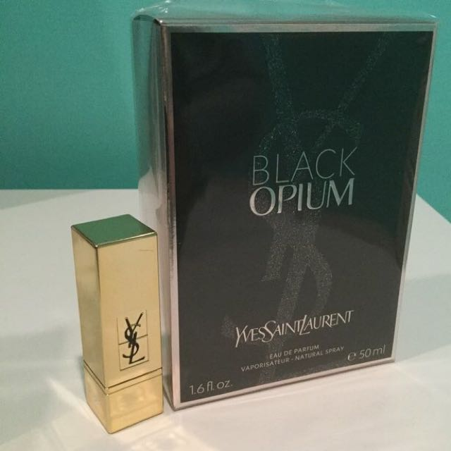 YSL • Black Opium (50ml) • Mini Lipstick (01 - Le Rouge)