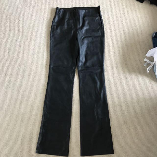 Zara Black Pleather Flair Pants US Medium (fits Size 8 Female)