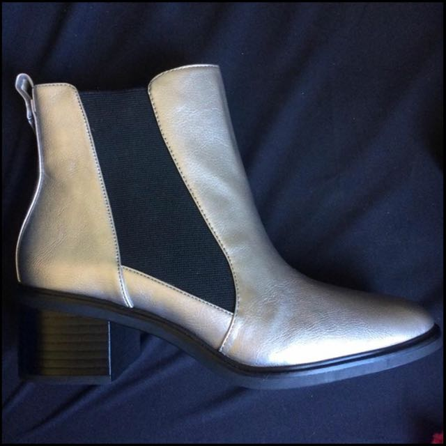 Zara Metallic Silver Boots