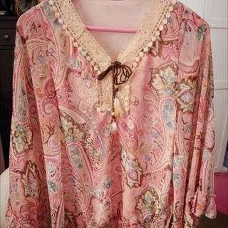 波希米亞風❤️粉紅雪紡上衣