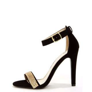 Black and Gold Heels - Size 6-6.5
