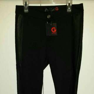 NWT GUESS Size Small Black and Leather Skinny Pants/Leggings