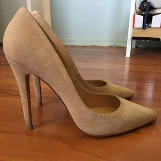 Wanted nude suede pointed toe heel