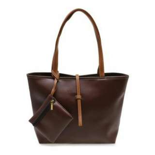 Zada Tote Bag with Mini Pouch Brown