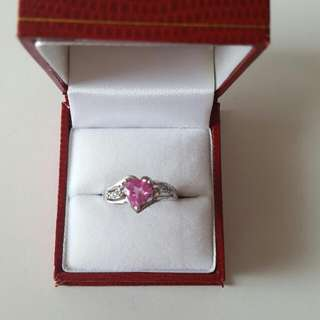 *Brand New* Pink And White Sapphire Heart Ring