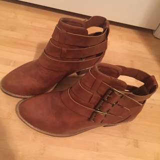 Brown open cut boots