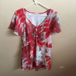 Red, White And Grey Top