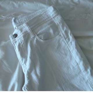 White Cropped Lee Jeans