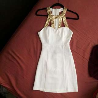 *Reduced* New Tobi Ivory/Gold Open Back Sequin Dress