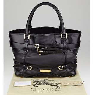 BURBERRY Black Leather Bridle Tote Bag