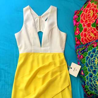 White/Yellow Plunge Crossover Dress | 8