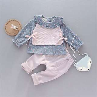 小 女童 春✨碎花上衣+背心+褲子 三件組✨