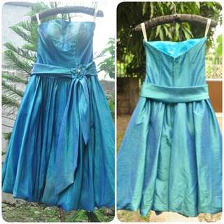 Blue Green gown by Bobby Novenario