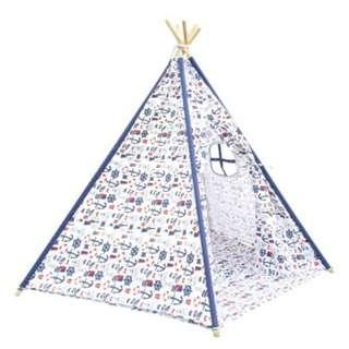 5 Poles Teepee Tent w/ Storage Bag White Green