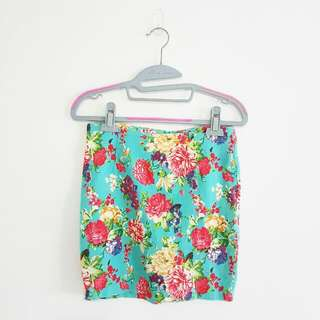 Floral Mini Skirt In Blue