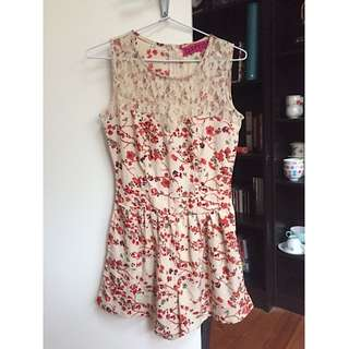 Floral playsuit with lace detail
