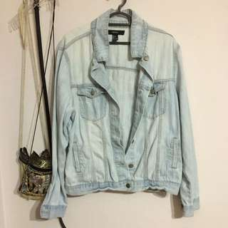F21 Faded Blue Wash Oversized Denim Jacket