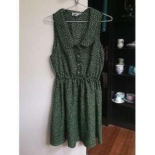 Green spotted skater dress