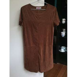 Brown Faux Suede Dress
